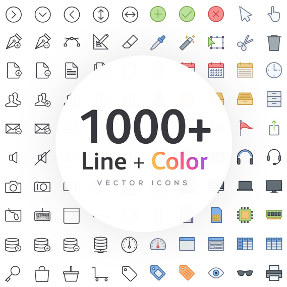 1000 line icons - monochrome and color
